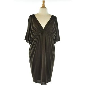 Laundry Brown Midi Dress With Gold Sparkles